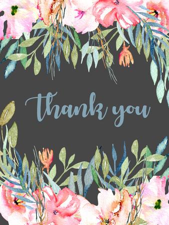 Waterverf roze veld anjers, blauwe en groene takken kaartsjabloon, hand getrokken op een donkere achtergrond, dank u kaartontwerp