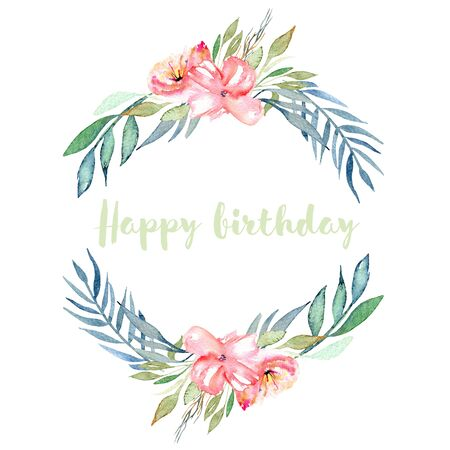 Watercolor pink field carnations, blue and green branches wreath, hand drawn on a white background, birthday card design