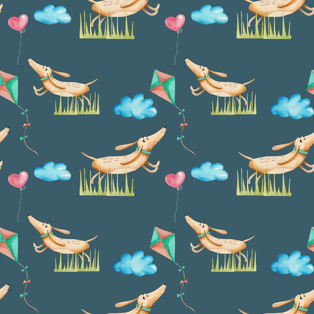 Watercolor cute cartoon dachshunds playing kites seamless pattern, hand drawn isolated on a dark blue background