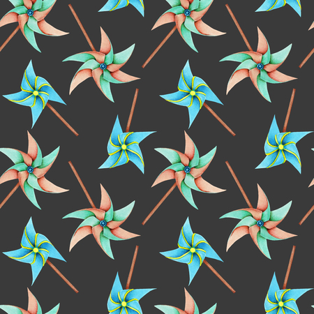 Watercolor windmill toys seamless pattern, hand drawn isolated on a dark background Archivio Fotografico