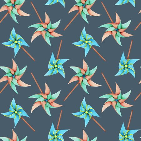 Watercolor windmill toys seamless pattern, hand drawn isolated on a blue background Archivio Fotografico