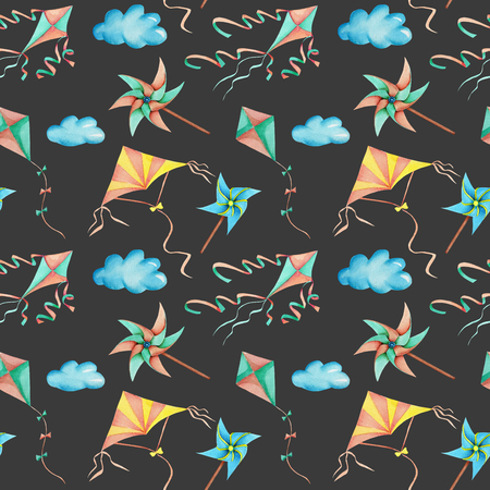 Watercolor flying kites in the sky seamless pattern, hand drawn isolated on a dark background Archivio Fotografico