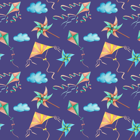 Watercolor flying kites in the sky seamless pattern, hand drawn isolated on a blue background