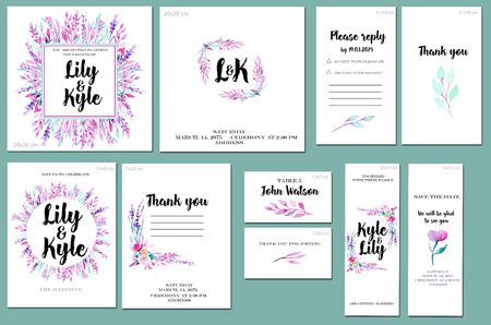 Card templates set with watercolor purple and mint branches background; art design for business, wedding, anniversary invitation, flyers, brochures, table number, RSVP, Thank you card, Save the date card Archivio Fotografico