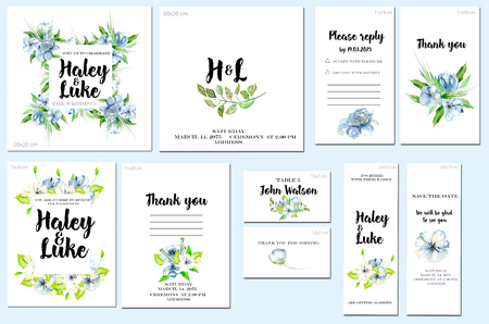 Card templates set with watercolor blue wildflowers and green leaves background; art design for business, wedding, anniversary invitation, flyers, brochures, table number, RSVP, Thank you card, Save the date card