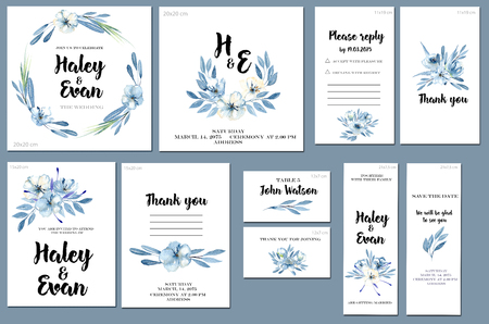 Card templates set with watercolor blue flowers and leaves background; art design for business, wedding, anniversary invitation, flyers, brochures, table number, RSVP, Thank you card, Save the date ca