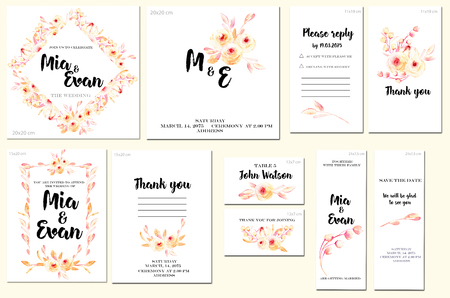 Card templates set with watercolor pink roses and leaves background; art design for business, wedding, anniversary invitation, flyers, brochures, table number, RSVP, Thank you card, Save the date card