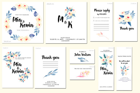 Card templates set with watercolor pink roses and blue leaves background; art design for business, wedding, anniversary invitation, flyers, brochures, table number, RSVP, Thank you card, Save the date card Archivio Fotografico