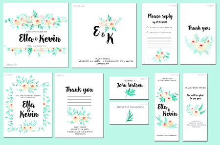 Card templates set with watercolor pink roses and mint branches background; art design for business, wedding, anniversary invitation, flyers, brochures, table number, RSVP, Thank you card, Save the da 스톡 콘텐츠