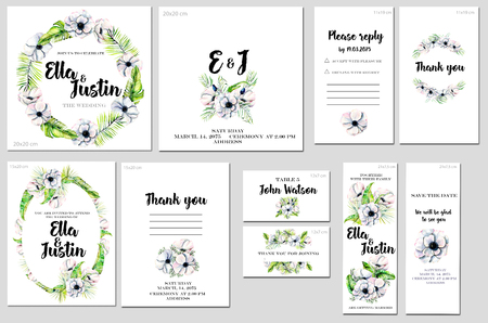 Card templates set with watercolor white anemones background; art design for business, wedding, anniversary invitation, flyers, brochures, table number, RSVP, Thank you card, Save the date card
