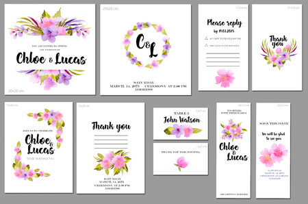 Card templates set with pink and purple watercolor wild roses background; art design for business, wedding, anniversary invitation, flyers, brochures, table number, RSVP, Thank you card, Save the date 스톡 콘텐츠
