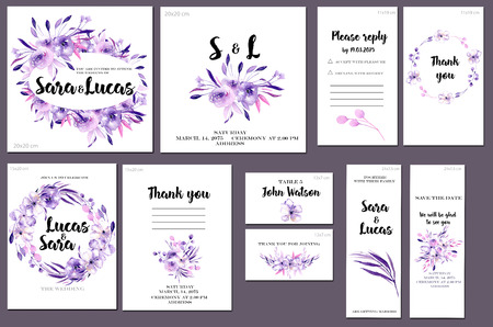 Card templates set with purple watercolor flowers and plants background; art design for business, wedding, anniversary invitation, flyers, brochures, table number, RSVP, Thank you card, Save the date card