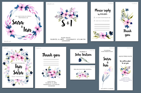 Card templates set with spring pink watercolor wildflowers background; art design for business, wedding, anniversary invitation, flyers, brochures, table number, RSVP, Thank you card, Save the date card