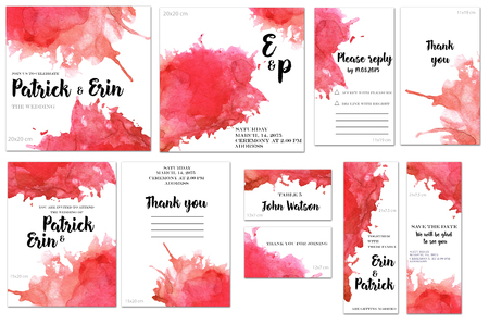 Card templates set with red watercolor splashes background; art design for business, wedding, anniversary invitation, flyers, brochures, table number, RSVP, Thank you card, Save the date card 스톡 콘텐츠