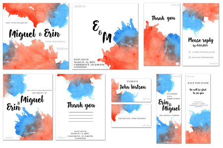 Card templates set with red and blue watercolor splashes background; art design for business, wedding, anniversary invitation, flyers, brochures, table number, RSVP, Thank you card, Save the date card