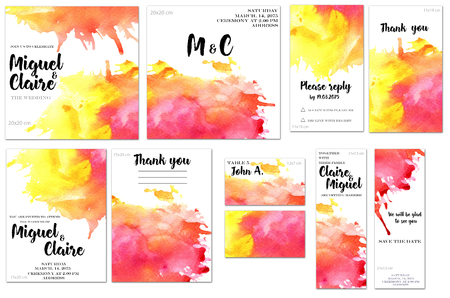 Card templates set with crimson and yellow watercolor splashes background; art design for business, wedding, anniversary invitation, flyers, brochures, table number, RSVP, Thank you card, Save the dat 스톡 콘텐츠
