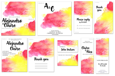 Card templates set with pink and yellow watercolor splashes background; art design for business, wedding, anniversary invitation, flyers, brochures, table number, RSVP, Thank you card, Save the date c