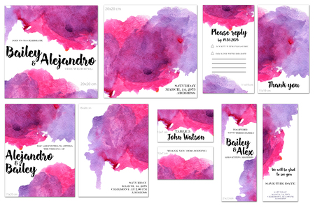 Card templates set with purple and crimson watercolor splashes background; art design for business, wedding, anniversary invitation, flyers, brochures, table number, RSVP, Thank you card, Save the date card