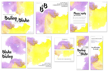 Card templates set with purple and yellow watercolor splashes background Archivio Fotografico