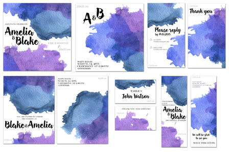 Card templates set with blue watercolor splashes background; art design for business, wedding, anniversary invitation, flyers, brochures, table number, RSVP, Thank you card, Save the date card Archivio Fotografico