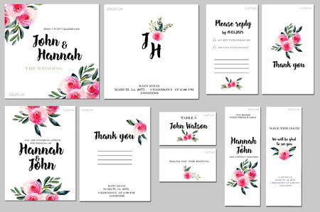 Card templates set with watercolor red roses and green leaves background; art design for business, wedding, anniversary invitation, flyers, brochures, table number, RSVP, Thank you card, Save the date 스톡 콘텐츠