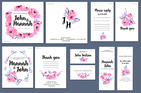 Card templates set with watercolor peonies background; art design for business, wedding, anniversary invitation, flyers, brochures, table number, RSVP, Thank you card, Save the date card