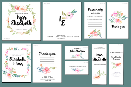 Card templates set with watercolor pink field cardnation and green leaves background; art design for business, wedding, anniversary invitation, flyers, brochures, table number, RSVP, Thank you card, Save the date card