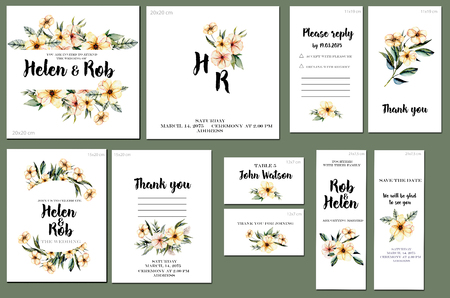 Card templates set with watercolor pink wildflowers and green leaves background