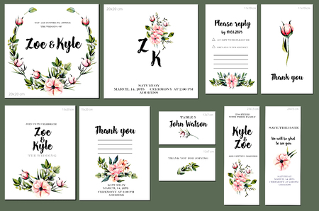 Card templates set with watercolor pink peonies and green branches background; art design for business, wedding, anniversary invitation, flyers, brochures, table number, RSVP, Thank you card, Save the 스톡 콘텐츠