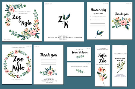 Card templates set with watercolor pink flowers and eucalyptus branches background