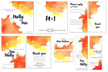 Card templates set with red and yellow watercolor splashes background; art design for business, wedding, anniversary invitation, flyers, brochures, table number, RSVP, Thank you card, Save the date ca