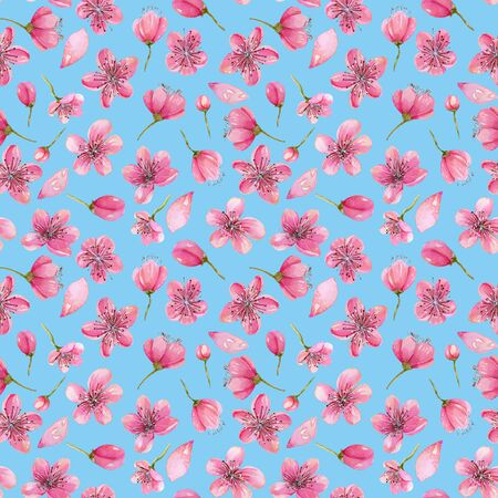 Watercolor spring cherry tree flowers seamless pattern, hand painted on a blue background