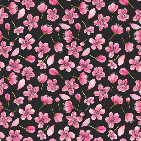 Watercolor spring cherry tree flowers seamless pattern, hand painted on a dark background