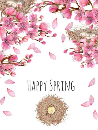 Card template with watercolor spring blooming cherry tree branches and bird nests, greeting background, hand painted on a white background 스톡 콘텐츠