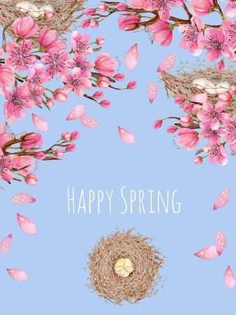 Card template with watercolor spring blooming cherry tree branches and bird nests, greeting background, hand painted on a blue background