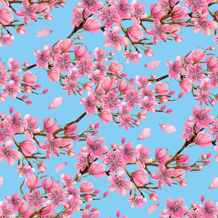 Watercolor spring blooming cherry tree branches seamless pattern, hand painted on a blue background
