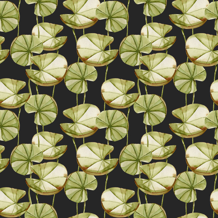 Watercolor water lily leaves seamless pattern, hand painted on a dark background Stock Photo