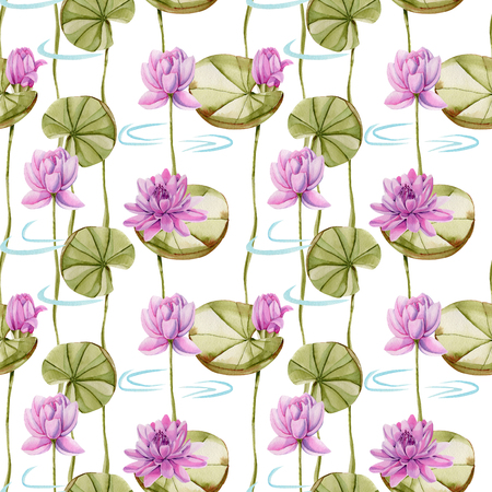 Watercolor pink lotus seamless pattern, hand painted on a white background