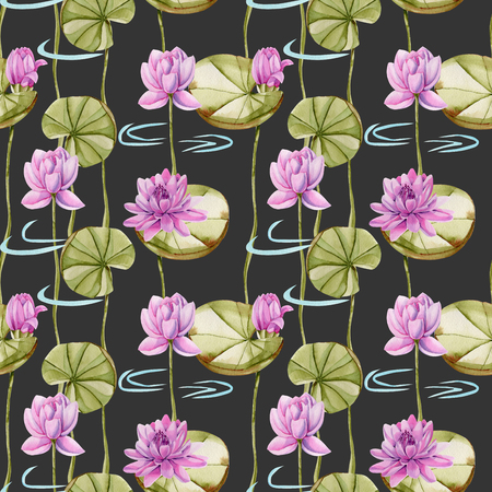 Watercolor pink lotus seamless pattern, hand painted on a dark background Stock Photo