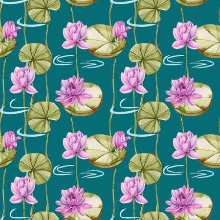 Watercolor pink lotus seamless pattern, hand painted on a dark green background