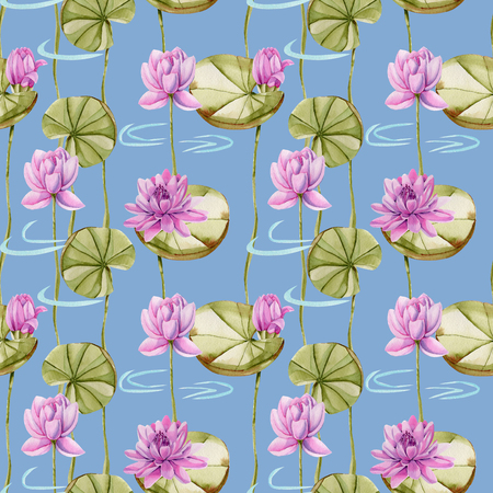 Watercolor pink lotus seamless pattern, hand painted on a blue background Stock Photo