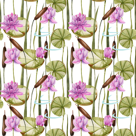 Watercolor bulrush and pink lotus seamless pattern, hand painted on a white background