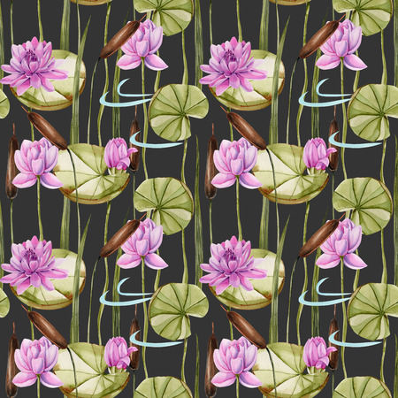 Watercolor bulrush and pink lotus seamless pattern, hand painted on a dark background
