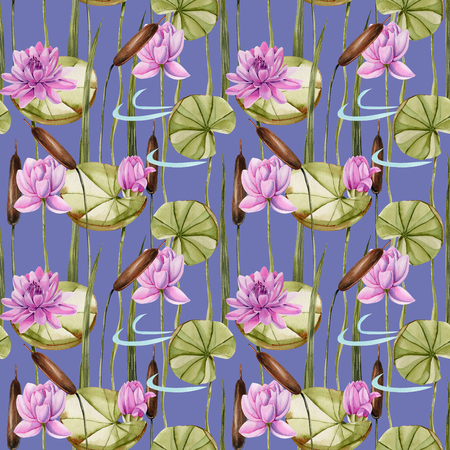 Watercolor bulrush and pink lotus seamless pattern, hand painted on a blue background