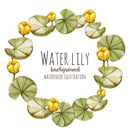 Watercolor yellow water lily wreath, greeting card template, hand painted on a white background