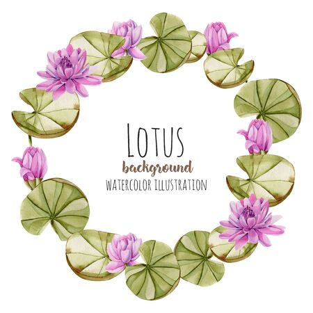 Watercolor pink lotus wreath, greeting card template, hand painted on a white background