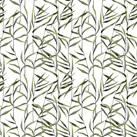 Watercolor reeds seamless pattern, hand painted on a white background
