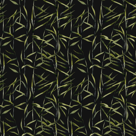 Watercolor reeds seamless pattern, hand painted on a dark background
