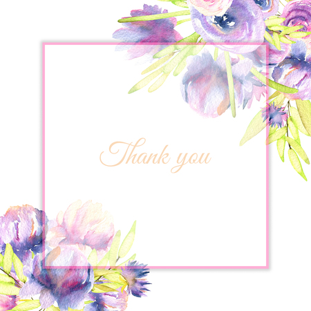Watercolor purple peony and roses card template, Thank you card design, hand painted on a white background