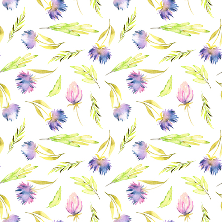 Watercolor purple asters and green leaves seamless pattern, hand painted on a white background